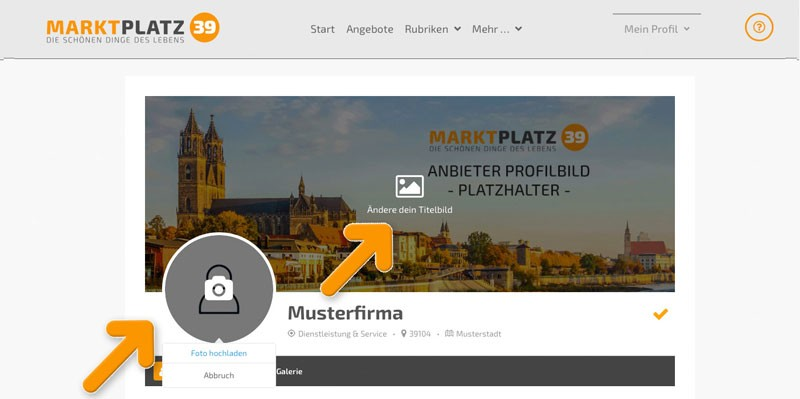 Marktplatz39 - Profilbilder ändern