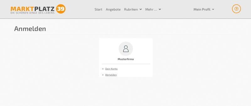 Marktplatz39 - Anbieter Login-Formular