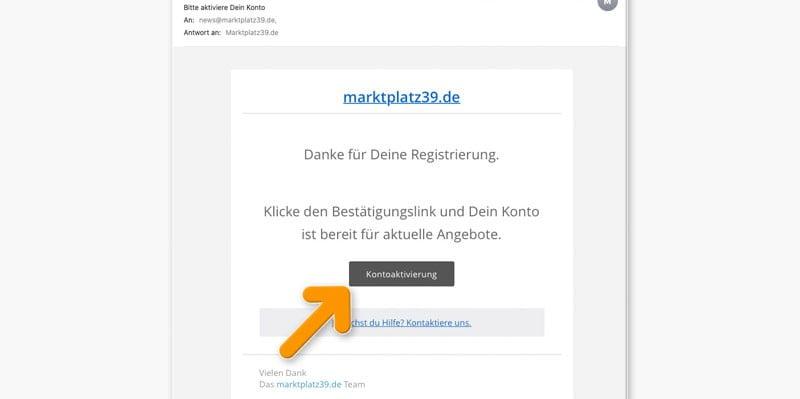 Bestätigung per E-Mail zum Registriervorgang MARKTPLATZ39