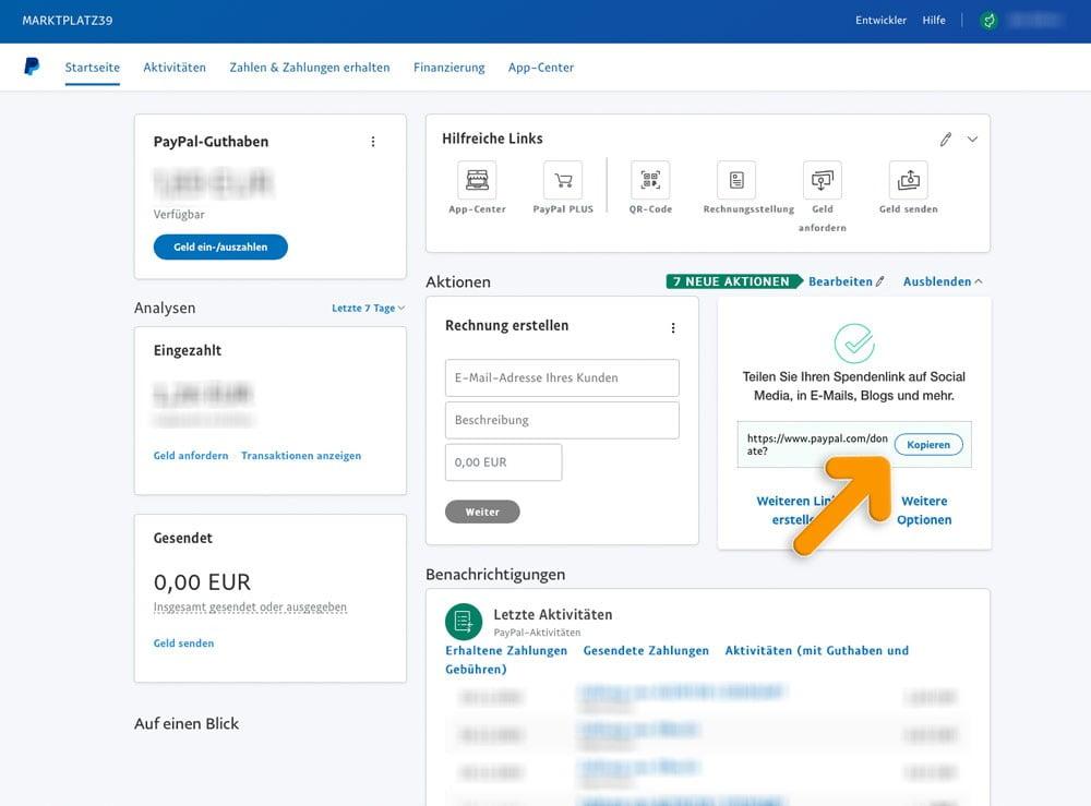 Paypal-Link kopieren